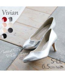 Vivian/ポインテッドトゥVカット6.5cmキレイめパンプス/502941127