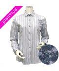 BRICKHOUSE/ウィメンズシャツ 長袖 形態安定 ワイド衿 白×グレー系マルチストライプ/502943118