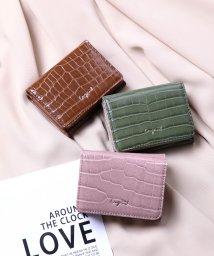 UNGRID bag/シャイニースモールクロコ 三つ折りミニ財布/502943340