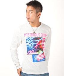 LUXSTYLE/ネオンサインカラーエンボスロゴプリントロンT/ロンT メンズ 長袖Tシャツ ロゴ プリント サガラ刺繍 エンボス/502944793