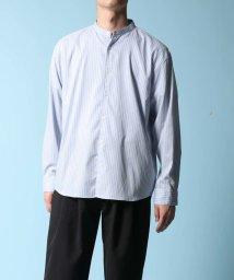 ADAM ET ROPE'/【ECO-VERO】ストライプ バンドカラーシャツ/ビッグシルエット/502943532