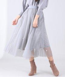 BLUEEAST/パール付きチュールフレアースカート/502946310
