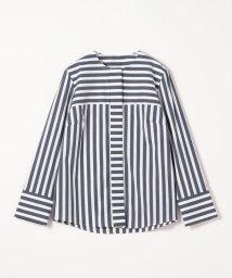 TOMORROWLAND collection/ストレッチブロードストライプ ノーカラーシャツ/502948749