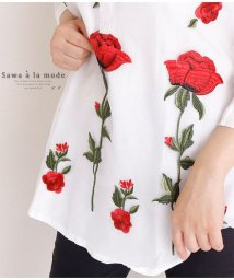 Sawa a la mode/赤い薔薇の花刺繍の美しいシャツトップス/502530609
