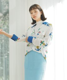 BENETTON (women)/アンカープリントオーバーサイズ襟配色シャツ・ブラウス/502941659