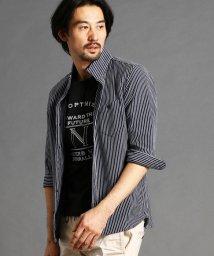 NICOLE CLUB FOR MEN/ストライプ柄7分袖シャツ/502942774