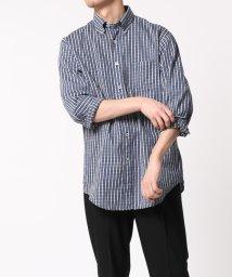 ADAM ET ROPE'/インディゴチェック ボタンダウンシャツ Madison Fit/502952539