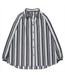 BRICKHOUSE/長袖カジュアルシャツ 袖口シャーリングチュニック 白×ブルー系ストライプ/502953044