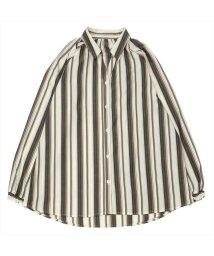 BRICKHOUSE/長袖カジュアルシャツ 袖口シャーリングチュニック 白×ブラウン系ストライプ/502953045