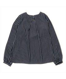 BRICKHOUSE/長袖カジュアルシャツ メタルパーツブラウス ネイビー×白ストライプ/502953046