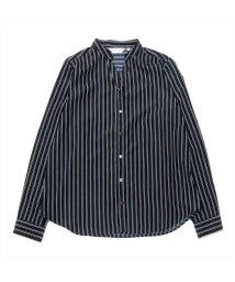 BRICKHOUSE/長袖カジュアルシャツ メタル釦ブラウス ネイビー×白ストライプ/502953047