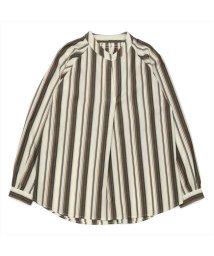 BRICKHOUSE/長袖カジュアルシャツ 衿ぐりシャーリングチュニック 白×ブラウン系ストライプ/502953049