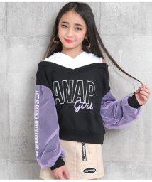 ANAP GiRL/シフォン重ネ袖肩アキフーディー/502954883