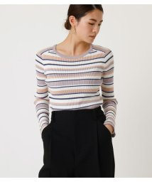 AZUL by moussy/RIB BORDER KNIT TOPS/502954995