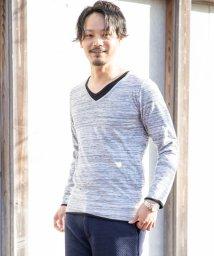 Nylaus/SKKONE フェイクレイヤード Vネック 長袖 Tシャツ/502959596