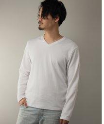 Nylaus/SKKONE フクレジャガード ヘリンボン柄 Vネック ロングTシャツ/502959655