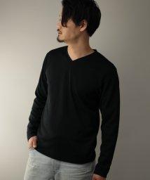 Nylaus/SKKONE フクレジャガード グレンチェック柄 Vネック ロングTシャツ/502959656
