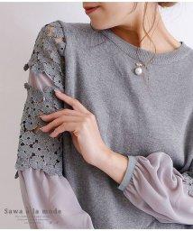 Sawa a la mode/パールピン付き花レース袖のニットトップス/502960431