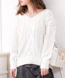 Julia Boutique/ケーブル編みVネックローゲージニットトップス・セーター/17521/502960983