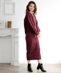 Julia Boutique/ケーブル編みニットカーディガン&スカートセットアップ/510539/502961019