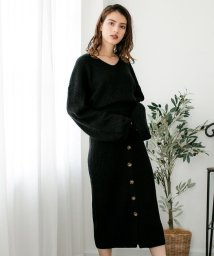 Julia Boutique/前ボタンスカート&Vネックニットセットアップ/510545/502961021