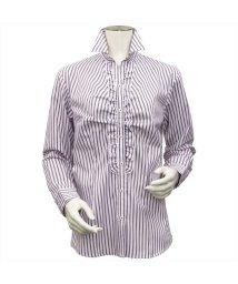 BRICKHOUSE/ウィメンズ 長袖 形態安定 フリル付シャツ スキッパー衿 ストライプ/502961277