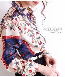 Sawa a la mode/花模様スカーフのシャツトップス/502963041