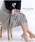 Sawa a la mode/裾チュールベロアプリーツスカート/502967123