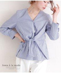 Sawa a la mode/Vネックのストライプシャツ/502967140