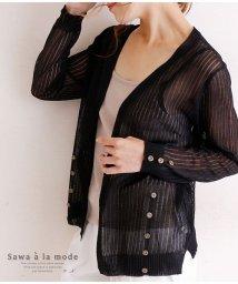 Sawa a la mode/折柄とボタンの透け生地カーディガン/502967160