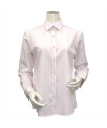 BRICKHOUSE/長袖 形態安定 レギュラー衿 綿100% ピンク×白ストライプ/502969535