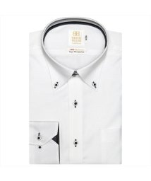 BRICKHOUSE/ワイシャツ 長袖 形態安定 ボタンダウン 綿100% 白×織柄 スリム/502969559