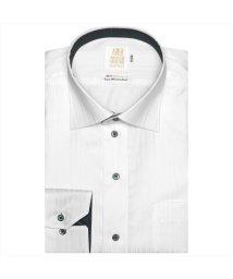 BRICKHOUSE/ワイシャツ 長袖 形態安定 ワイド 綿100% 白×ストライプ織柄 スリム/502969560