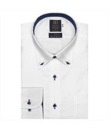 BRICKHOUSE/ワイシャツ 長袖 形態安定 ボタンダウン 綿100% 白×織柄 標準体/502969562