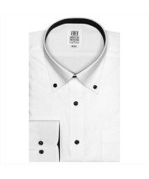 BRICKHOUSE/ワイシャツ 長袖 形態安定 ボタンダウン 白×ダイヤチェック織柄 スリム/502969565