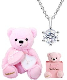 JEWELRY SELECTION/TeddyBear テディベア&アクセサリーギフトセット【6本爪CZネックレス/ピンクテディ】/502972135