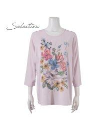 Liliane Burty/【Selection】 シルケットスムース 転写刺繍プリントTシャツ/502972179