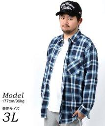 MARUKAWA/【NATURAL STORY】大きいサイズ ナチュラルストレッチ チェックシャツ 春/502946413