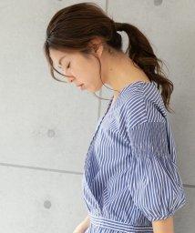 PREFERIR/【セットアップ対応商品】ストライプ袖シャーリングカシュクールブラウス/502964853