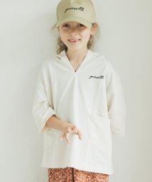 pairmanon/ミニ裏毛 スウェット ポケット付き  5分袖丈 ロゴ 刺繍 パーカー/502972317