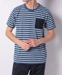 TARAS BOULBA/タラスブルバ/メンズ/ドライミックスデニム ボーダーポケットTシャツ/502979308