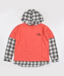 ZIDDY/チェック レイヤード風 フード付き Tシャツ(130cm~160cm)/502900886