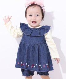 e-baby/デニムフラワー刺繍セットアップ/502902494