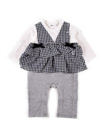 e-baby/天竺ストライプ+チェックカバーオール/502902504