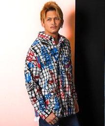 LUXSTYLE/チェックBIGシャツ/チェックシャツ メンズ 長袖シャツ ビッグシルエット ロゴ ペイント/502979970