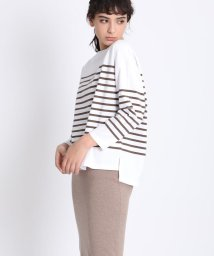 INED(L SIZE)/《大きいサイズ》パネルボーダーカットソー《Masion de Beige》/502983662