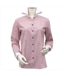 BRICKHOUSE/ウィメンズシャツ 長袖 形態安定 スキッパー ダブル衿 白×レッドストライプ/502983679