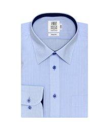 BRICKHOUSE/スリム 長袖 ワイシャツ 形態安定 レギュラー サックス×ストライプ織柄/502983697