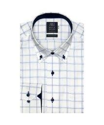BRICKHOUSE/ワイシャツ 長袖 形態安定 ドゥエボットーニボタンダウン 白×ブルー 標準体/502983704