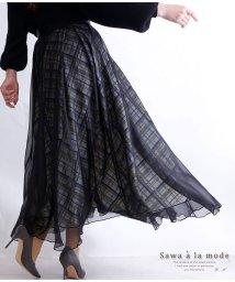 Sawa a la mode/チェック模様透けるチュールフレアスカート/502984636